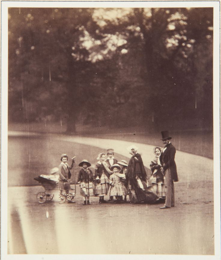 The Royal Collection: The Queen, the Prince and eight of the Royal Children in Buckingham Palace Garden, c. 1855