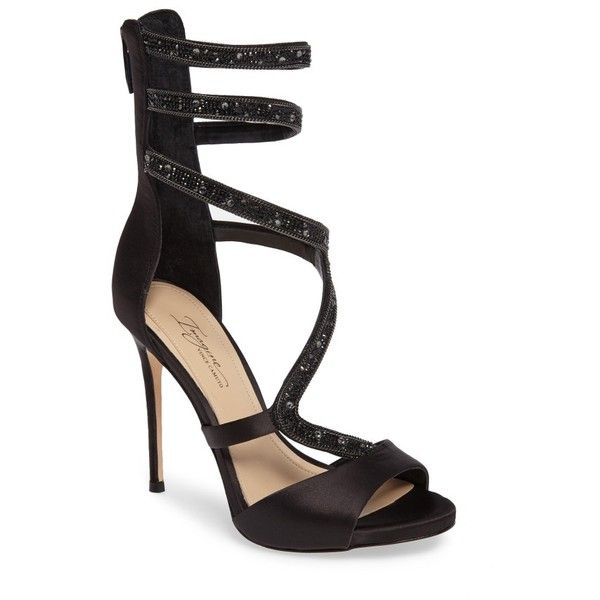 Women's Imagine Vince Camuto Dafny Embellished Sandal ($180) ❤ liked on Polyvore featuring shoes, sandals, black satin, high heel stilettos, d'orsay shoes, black sandals, black stiletto sandals and heels stilettos
