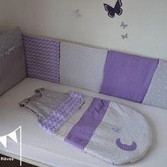 dispo ensemble tour de lit gigoteuse turbulette 6 12 mois violet parme - Chambre Fille Gris Et Parme