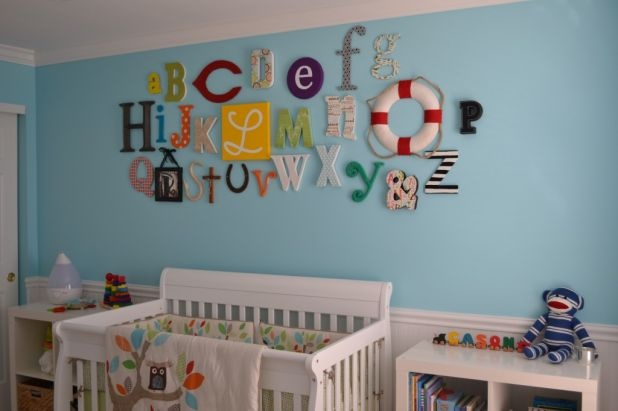 Another ABC wall idea: Nurseries Wall, Alphabet Wall, Kids Bedrooms Idea, Bright Color, Cute Idea, Baby Rooms, Nurseries Idea, Gender Neutral Nurseries, Alphabet Art
