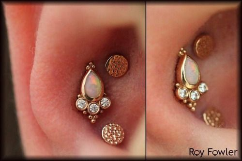 Triple Conch piercing by Roy Fowler of Studio Seven Piercing and Tattoo. Jewelry by BVLA.