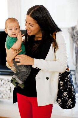 As a working new mom, Rebecca Minkoff prefers a sophisticated tote which can carry both baby and work items to a dedicated diaper bag. (With skull and crossbones no less!)