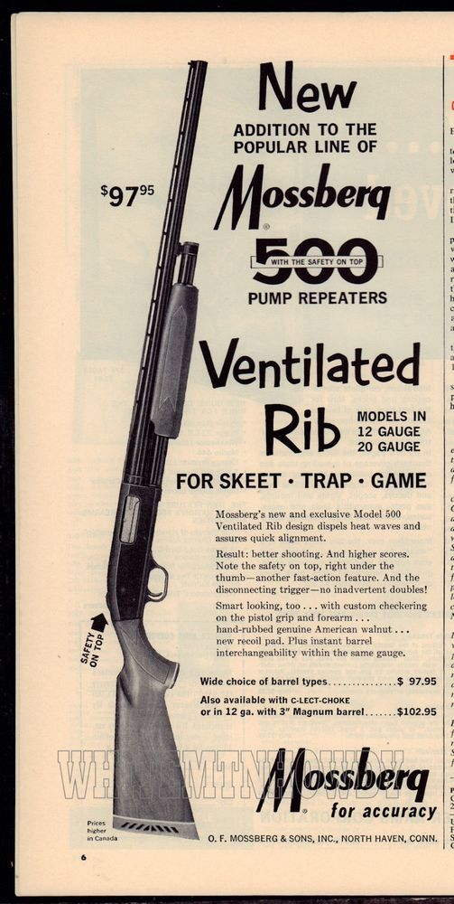 1964 MOSSBERG 500 Pump Repeating Ventilated Rib Shotgun AD ADVERTISING #Ruger