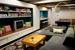 Basement Pool Room/Teen Hangout - contemporary - basement - indianapolis - by Susan Yeley Interiors