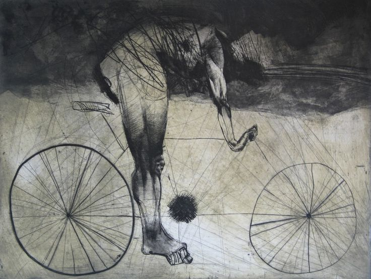 """""""Bicyclist"""" by Goce Trajkovski (probably an etching with drypoint...but pen-like :D)"""