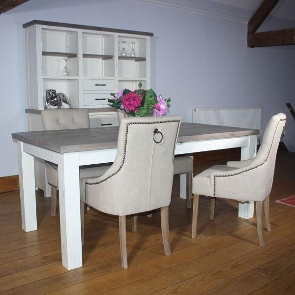 Handcrafted Dorset Purbeck Reclaimed Wood Extendable Dining Table. Expandable Wooden Dining Table in distressed white and recycled wood. Free UK Delivery