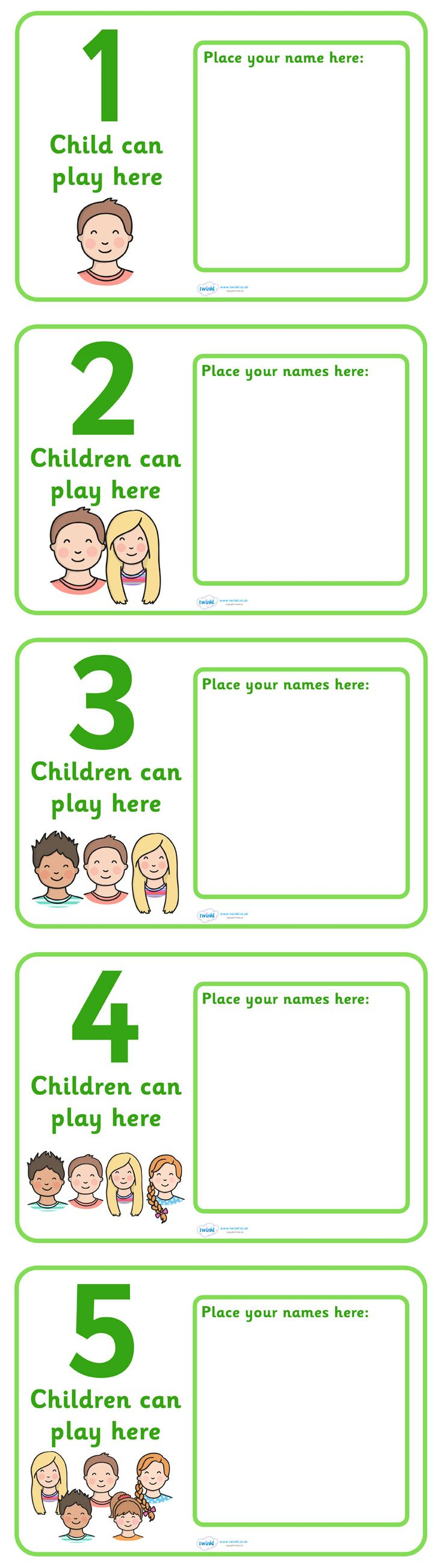 Twinkl Resources >> How Many Can Play Here Name Posters >> Thousands of printable primary teaching resources for EYFS, KS1, KS2 and beyond! display, poster, classroom area display, child self management