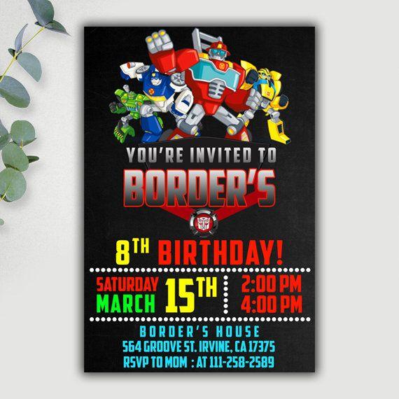 Invitación de robots de rescate rescate Bots cumpleaños