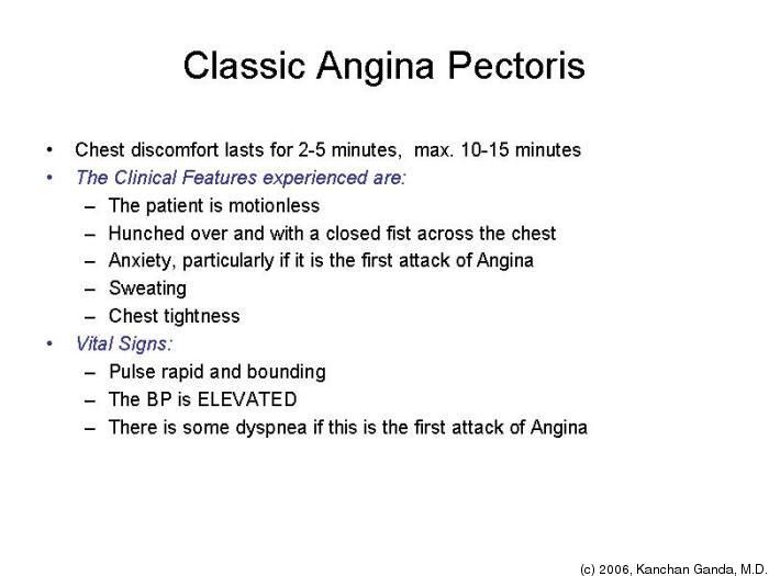 Angina Pectoris Signs and Symptoms | 399 Medicine I, Spring 2006 - Tufts OpenCourseWare