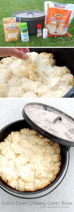 Dutch Oven Cheesy Garlic Bites {recipe}. Made with Rhodes rolls. Rhodes Recipe. Dutch oven Recipe. Garlic bread recipe. from TheCreativeMom.com