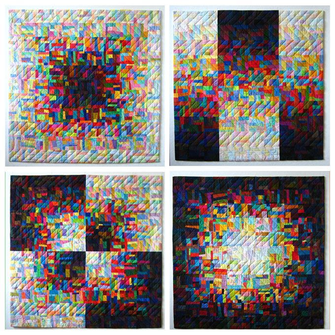 Variations in play between dark and light, using tiny scraps of pieced fabric by Mary & Patch Scraps