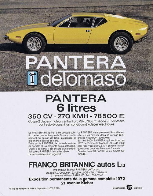 Image result for 1972 detomaso pantera advertisement