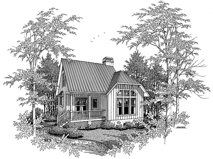 Eplans Cottage House Plan - Make The Most - 828 Square Feet and 2 Bedrooms from Eplans - House Plan Code HWEPL01316