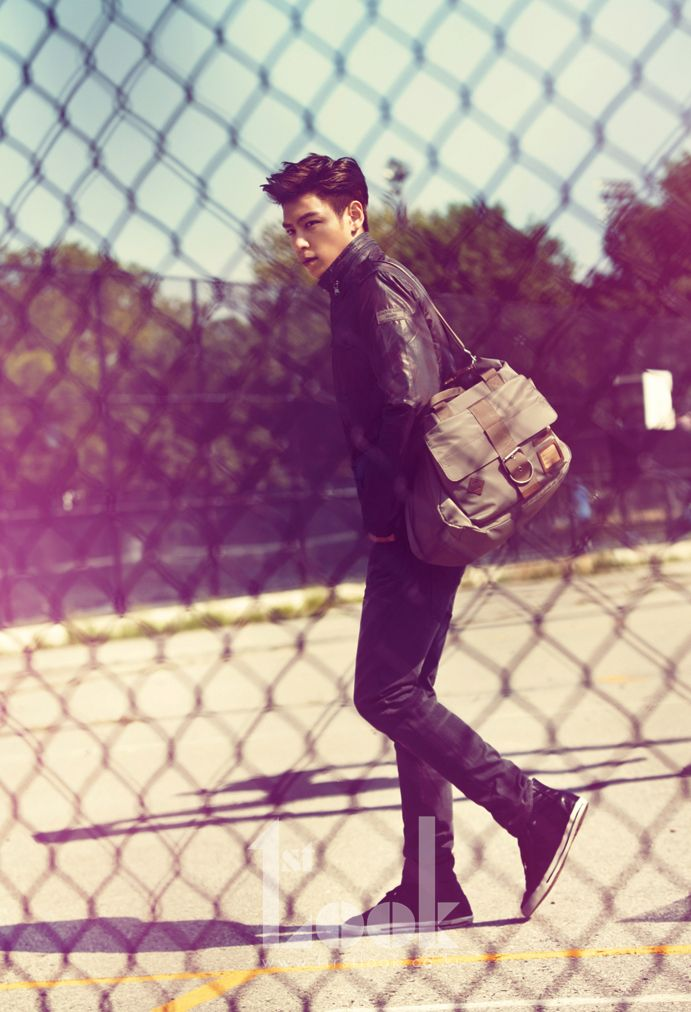 Stylish run around town outfit. The leather jacket with a zipper collar and messenger back are especially nice. // T.O.P (BIGBANG)