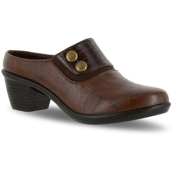 Easy Street Baton Women's Clogs ($55) ❤ liked on Polyvore featuring shoes, clogs, brown oth, elastic shoes, slip on clogs, synthetic shoes, brown clogs and easy street shoes