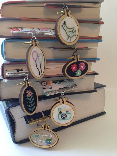 new dangling bookmarks - mini embroidery hoops - hand embroidered gifts for book lovers
