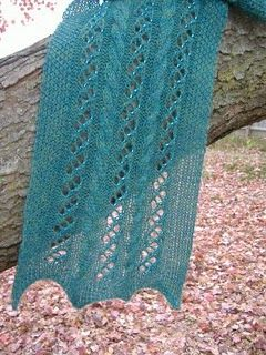 Lace and Cables Scarf with Beads ⋆ Knitting Bee