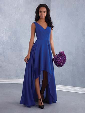 Alfred Angelo Style 7431: chiffon hi-low bridesmaid dress with V-shaped neckline and self-tying natural waistband