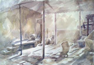 An aquarell of an intérieur.
