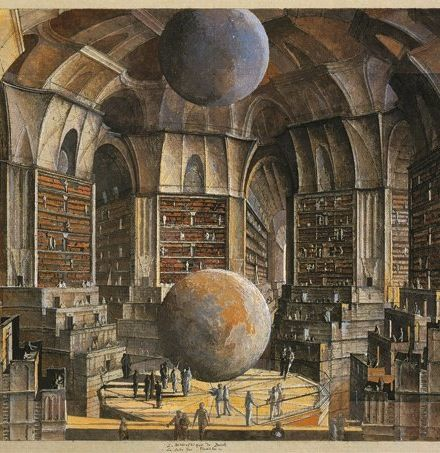 Erik Desmazieres, original illustration to Jorge Luis Borges' The Library of Babel (1941