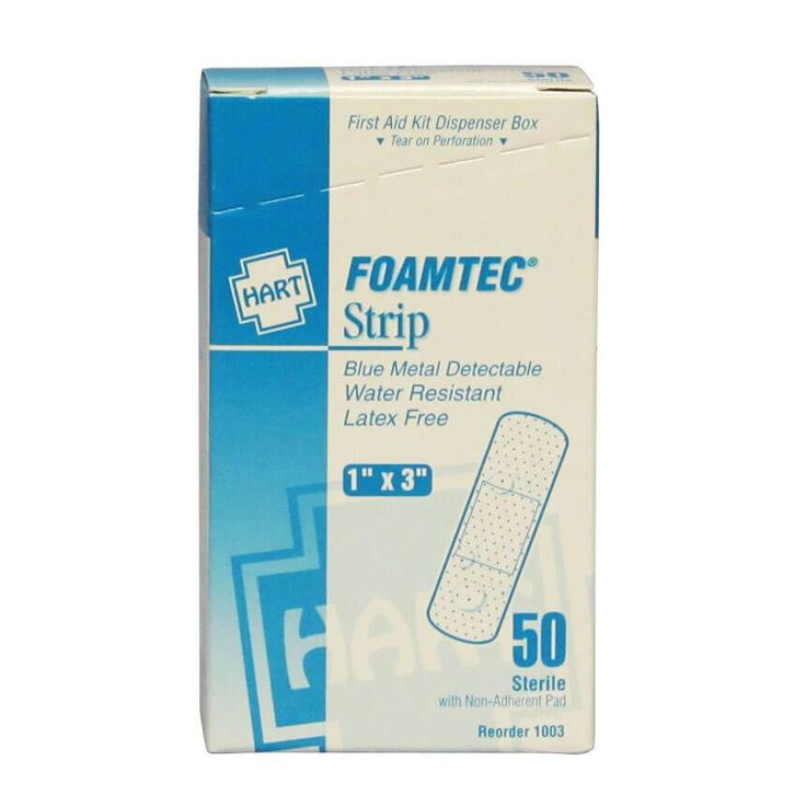 Foamtec Blue Metal Detectable Foam Adhesive Bandages from Hart Health.  50 water resistant 1″ x 3″ sterile blue foam metal detectable bandages in a convenient first aid kit dispenser box with tear-off top.  Great selection for the food processing industry, especially in wet environments.  These quality blue bandages feature an island non-stick pad and long lasting adhesive to provide protection and promote healing.  Hart Health #1003