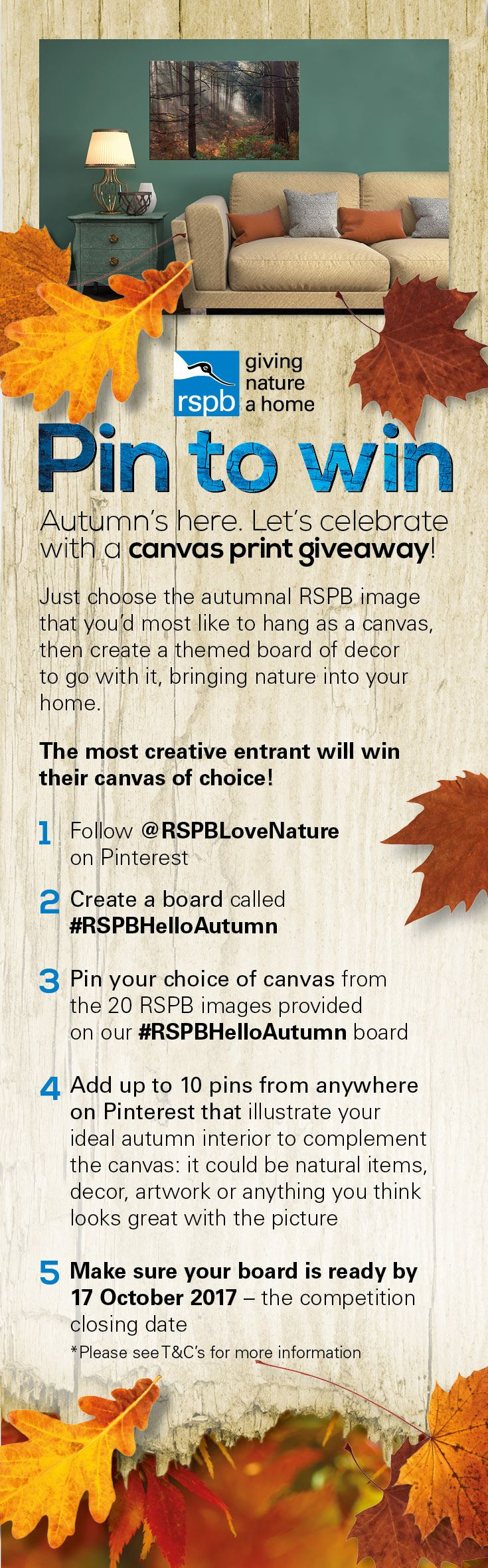 Pin to Win a gorgeous canvas print worth up to £200 – simply create a #RSPBHelloAutumn Pinterest board, pin your choice of canvas from the 20 autumnal images provided on our #RSPBHelloAutumn board and then add in 10 or more pins that illustrate your ideal autumn interior. Closing date 17/10/2017. 2017, Contest, Fun, Photography, Home Inspiration, Giveaway, Competition, Prizes, Autumn, Decor, Aesthetic