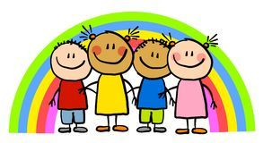 Childlike Drawing Rainbow Kids Royalty Free Stock Image
