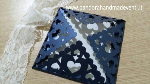 Partecipazione handmade Cuori. Pandora Handmade & Eventi