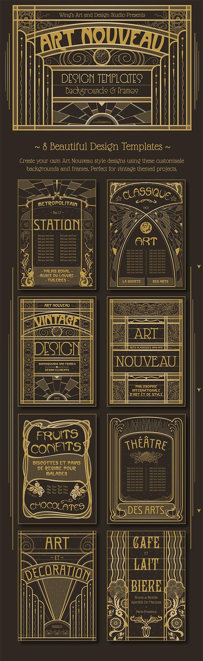 Access All Areas members are being treated to a brilliant set of design resources from Wing's Art and Design Studio this week. This collection of 8 Art Nouveau backgrounds and frames are fully customisable templates that take their inspiration from the classical architecture and shop fronts of Paris. Pre-set text paths, fully editable vector elements, …