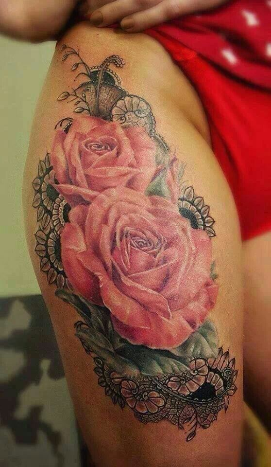 Amazing rose/lace tattoo