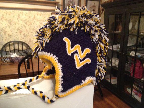 WVU Mohawk crochet hat by HatsbyLisa on Etsy