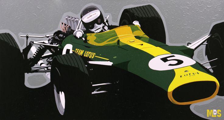 """Mark #Sanders """"Jim Clark im Lotus 49"""" Edition auf Metall o. Leinwand ab 45 x 25 cm ab  69,00 € http://www.artfan.de/sanders-mark-jim-clark-lotus-pop-art-kunst-kaufen.html"""