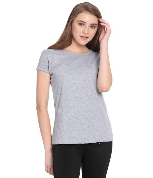8afe94dab88 Haoser Women's Solid Light Grey Cotton Round Neck T-Shirt | Cliths ...