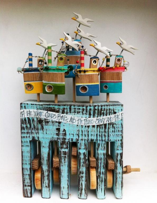 handmade  sculpture  cornwall flotilla wooden sculpture
