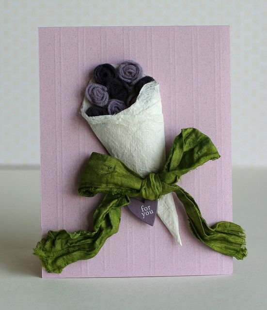 Felt Purple Flower Boquet Card by Kelly Griglione, via Flickr