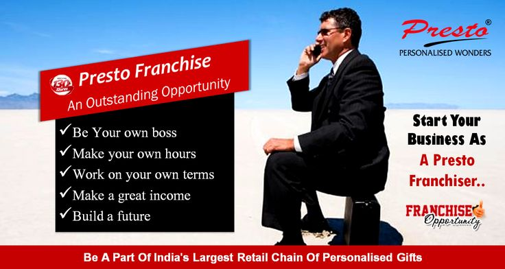 Start a beneficial #journey as #Presto #Franchiser. Do #business with us...Be a part of India's largest retail chain of #personalizedgifts.   >#Lowinvestment Business with High level #profit assurance  **Click here to know about PrestoWonders #franchiseopportunities > http://www.prestowonders.com/corporate/franchise-business-opportunities.php  Or Call Us for more details about franchise opportunities:  Land line no: +91 33 2324 2303/2304 Mobile Number: 9007014571