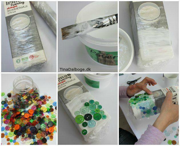 Lysglas lavet af knapper og paverpol fra kreahopshop