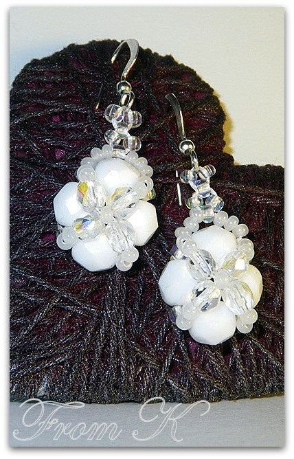 White and Sparkle Beaded Earrings. Czech Crystal and seed by FromK, $3.00
