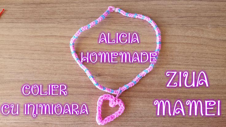 Colier elastice loom si inimioara gumite, facute cu doar o iglita / mini-andrea