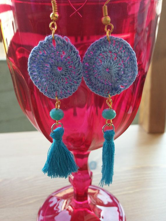 Handmade earrings knitted hand by toocharmy on Etsy