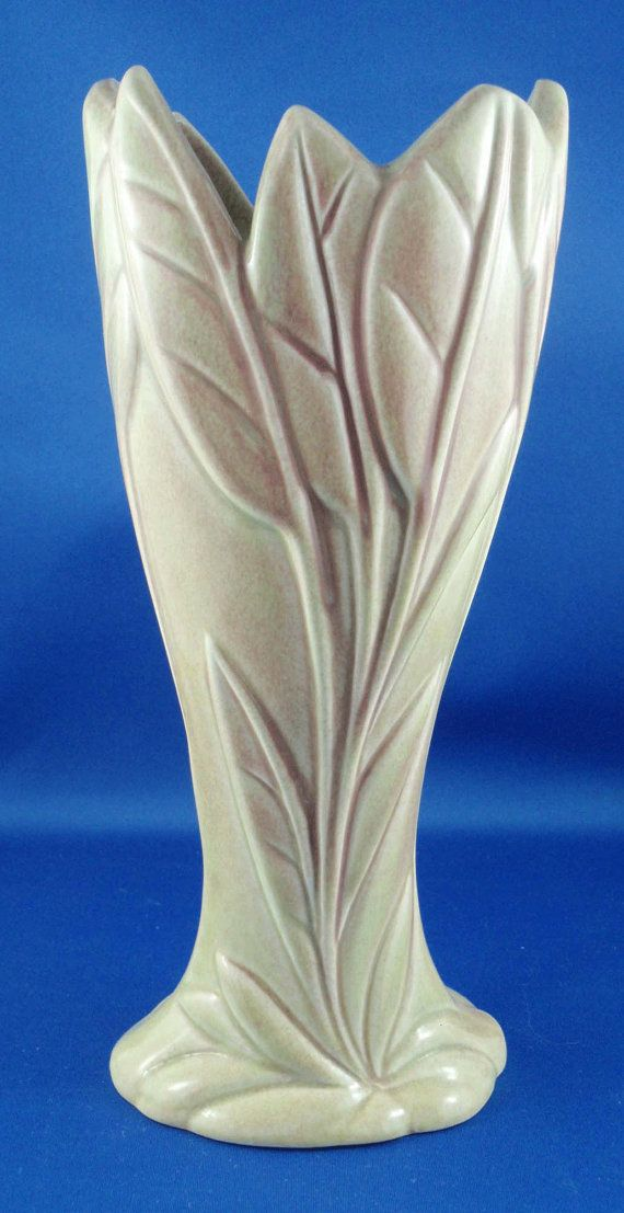 West Coast Pottery Burbank California Leaf Vase Circa