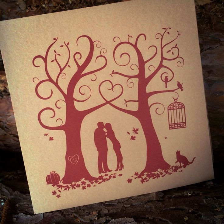 These autumnal wedding invitations feature the silhouettes of Charlie and Dave in the woods of which they love to wander. They wanted a warm, rustic feel with a somewhat mysterious and gothic inspired look that tied in some of the features of their Autumn wedding and personalities.