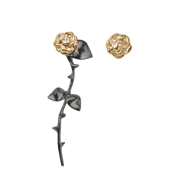 Marina's Roses Earrings - gold&black by SMITH/GREY
