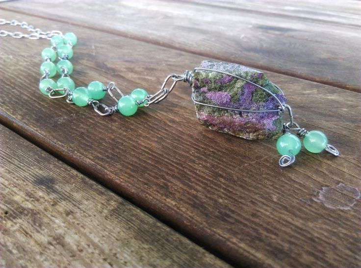 Rough purpurite necklace and green glass bead detail