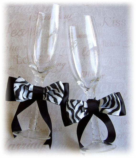 Zebra Wedding Champagne Glasses  Zebra Wedding Table by All4Brides, $30.00