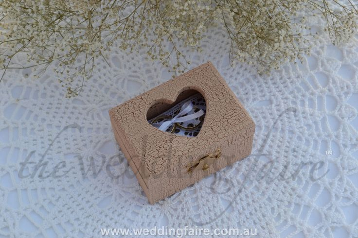 Colour Made to Order - Powder Pink Crackle Heart Window Rustic Ring Box - Burlap & Lace Pillow - The Wedding Faire
