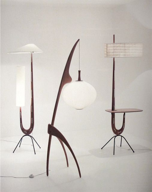 Floor lights from the 1950's designed and produced by Jean Rispal, France. In the center is the Mante Religieuse (Praying Mantis), inspired by the works of Hans Arp.