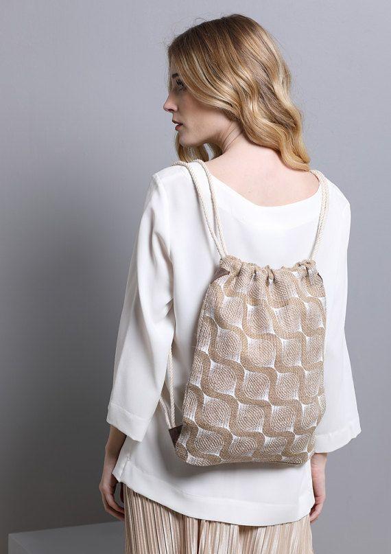 Printed Drawstring Backpack for women Jute burlap by SCHILLERshop