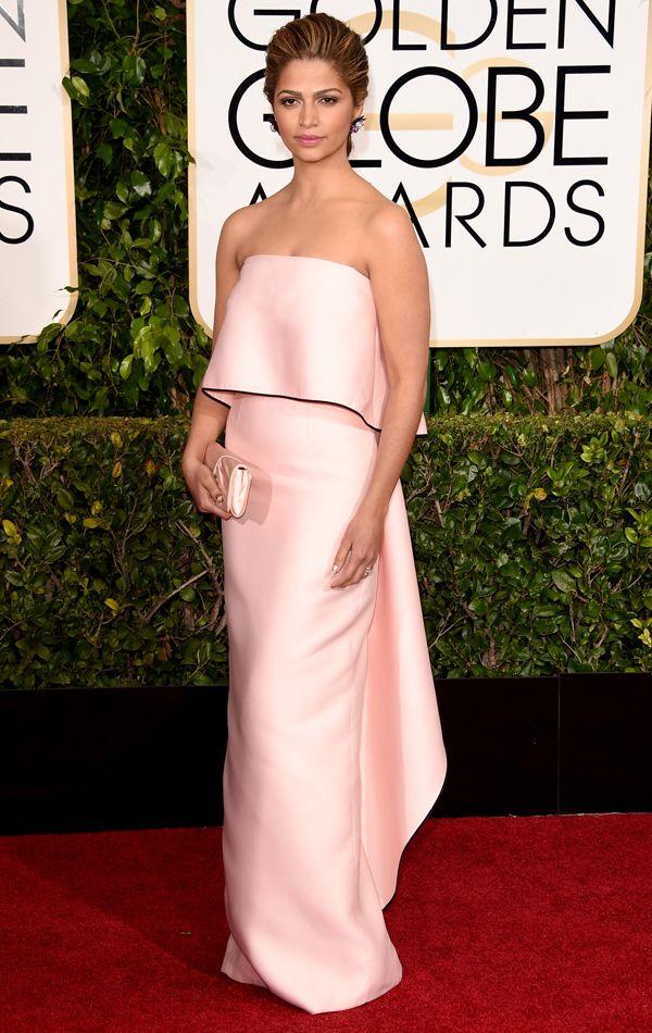 Golden Globes 2015 Camila Alves in Monique Lhuillier   blog.theknot.com