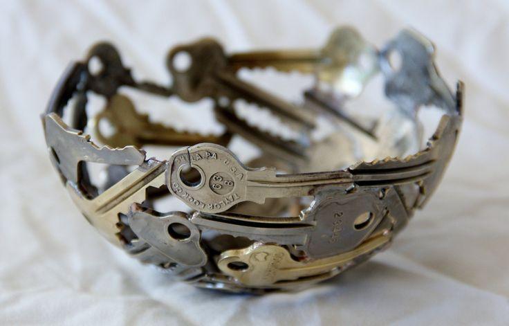 Small key bowl 20, Key bowl, Metal sculpture ornament. $45.00, via Etsy.